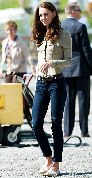 To board a float plane at the Old Town Float Base in Yellowknife, Duchess Catherine chose skinny J.Brand jeans, Sebago shoes, and a Burberry blouse on July 5.