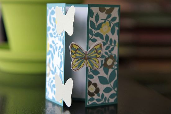 handmade card ... gatefold design ... luv the three  butterflies along the closed line ... the colored one in the center attache on the right hand side ... the bottom and top die cut butterflies with no color attached to the left hand door ...  good design ...,