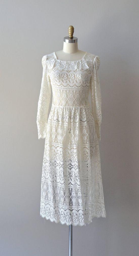 vintage 70s lace dress / 1970s white lace dress /  by DearGolden, $124.00