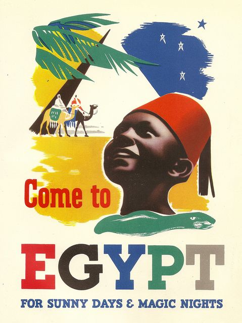 Come to Egypt for sunny days and magic nights   vintage travel poster