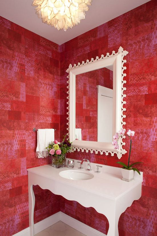 red wallpaper in a powder room by San Francisco interior designer Tineke Triggs