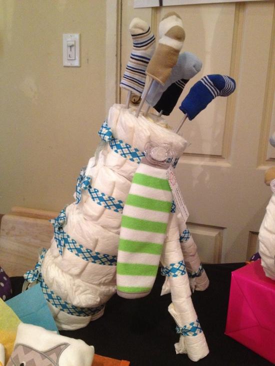 Diaper Golf Bag - Baby Shower Center Piece.