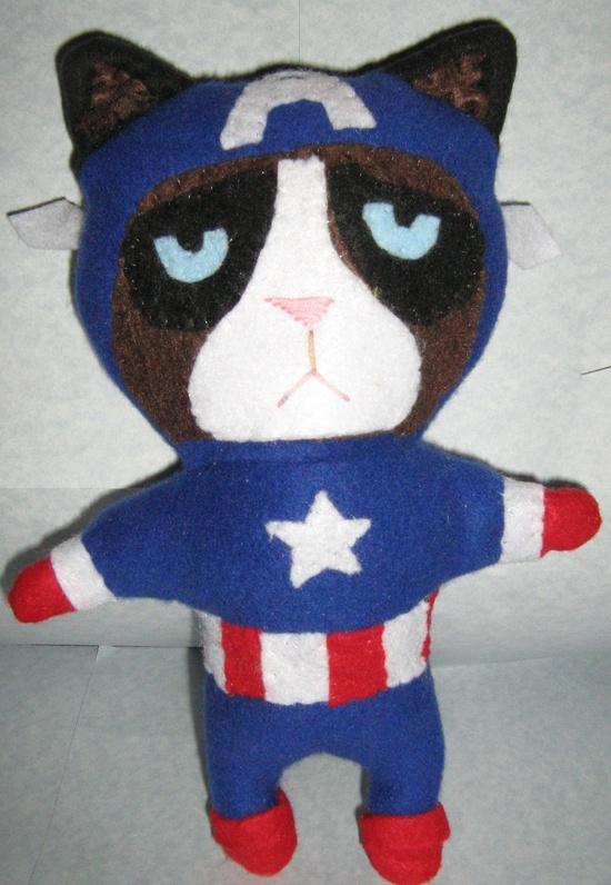 Grumpy Cat Capt. America Handmade Plushie
