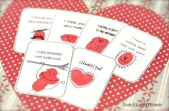 Cute Thumbprint Valentine Idea and printables