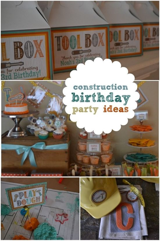 Boys Construction Themed Birthday Party Ideas www.spaceshipsand...