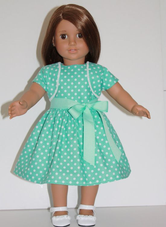 18 inch Doll Dress Teal & White Dots dress and by DollShoeShop, $14.00