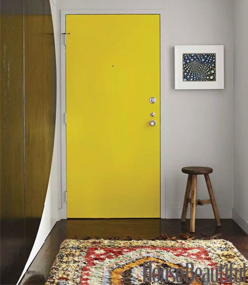 "Taken from HouseBeautiful's 10 Big Solutions for Small Spaces    Small spaces are perfect for bold decorating because they require less time, money, and materials. ""In small, modern apartments you have to create dramatic moments that offset the lack of detail — but don't hog the space,"" says Shearron, who helped chose Benjamin Moore Bright Yellow paint for the apartment's front door. ""Bold, graphic gestures like that look cool in small spaces,"" he explains."