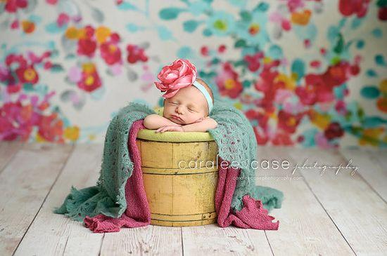 Newborn Photography Prop - newborn props headband - handmade fabric flower headbands on Etsy, $18.50