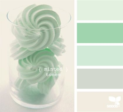 Like the rest of the world, I am obsessed with mint! MINT!  It is so cheery and still calming.  Just painted my bathroom a mint/pistachio.  So pretty!  :)  Love these minted tones!