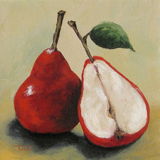 """Red Pears  6""""x 6"""" Original Painting by Torrie Smiley. $35.00 USD, via Etsy."""