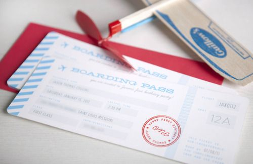 boarding pass invitations - great for a Bon Voyage Party
