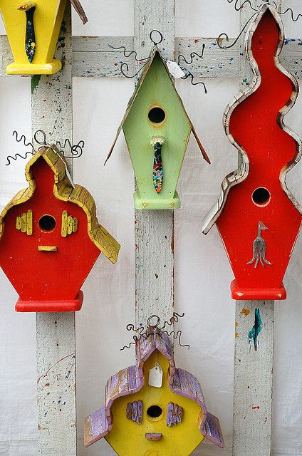 crafty bird houses. by thebakingbird, via Flickr