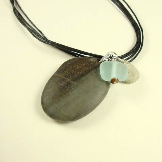 Beach Stone Pendant Aqua Glass Fossil by CalliopeAZCreations, $26.00