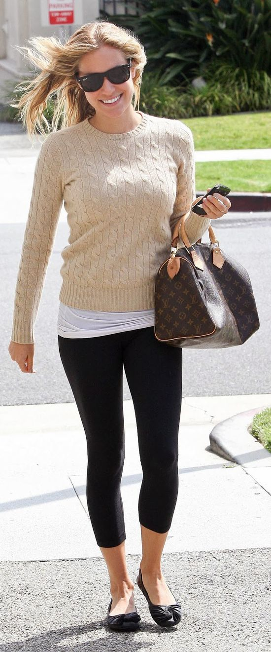 Perfect casual outfit with knitted sweater, tights and flat shoes