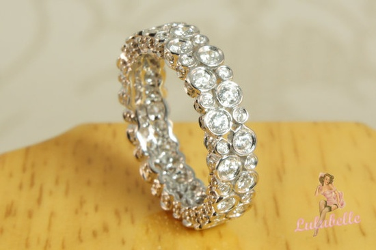The Bubble Ring - Diamond and 14k white gold full eternity wedding or engagement ring