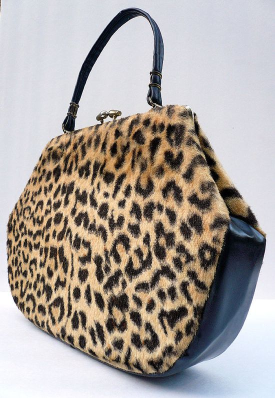 Timeless Chic!  1960 Leopard Handbag