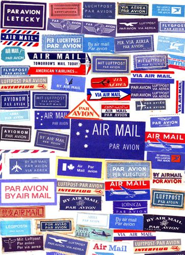 Vintage airmail labels.  [via katey nicosia]