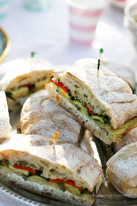 Zucchini, Eggplant, Red Pepper, and Goat Cheese Sandwich.