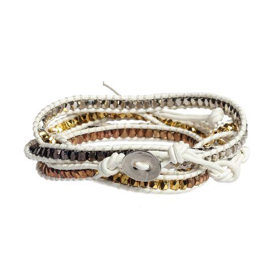 5-Layer Wrap Bracelet in White Gold