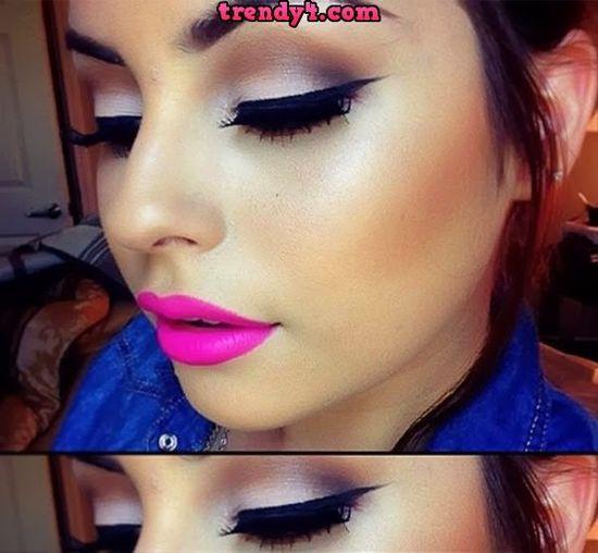 Silvery Glittery Eye Makeup 2014
