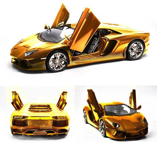World's most expensive Lamborghini Aventador model car got a gilded makeover