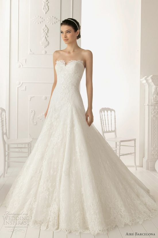 aire barcelona 2013 ramo strapless lace wedding dress