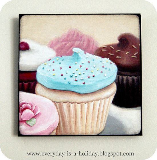 Instagram inspired wood mounted print Cupcakes #1  from Everyday is a Holiday  #art #print #decor #plaque #cupcakes #kitchen #instagram