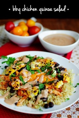 BBQ chicken quinoa salad with a greek yogurt sauce.