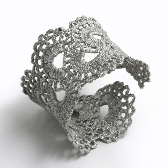 cuff bracelet with lace and fabric stiffener