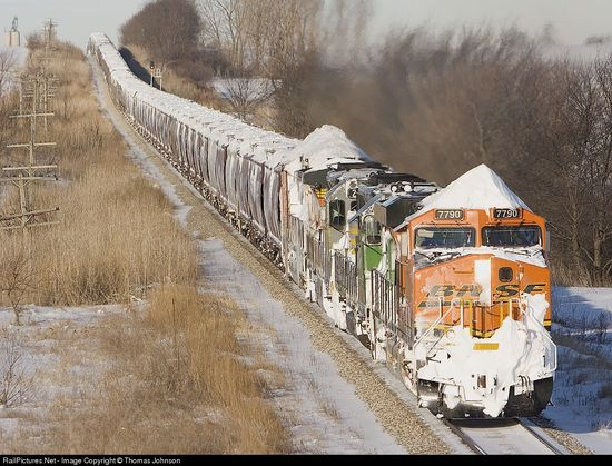 The BNSF crew on this loaded grain train started their journey at Ft. Dodge, IA and brought the snow with them!