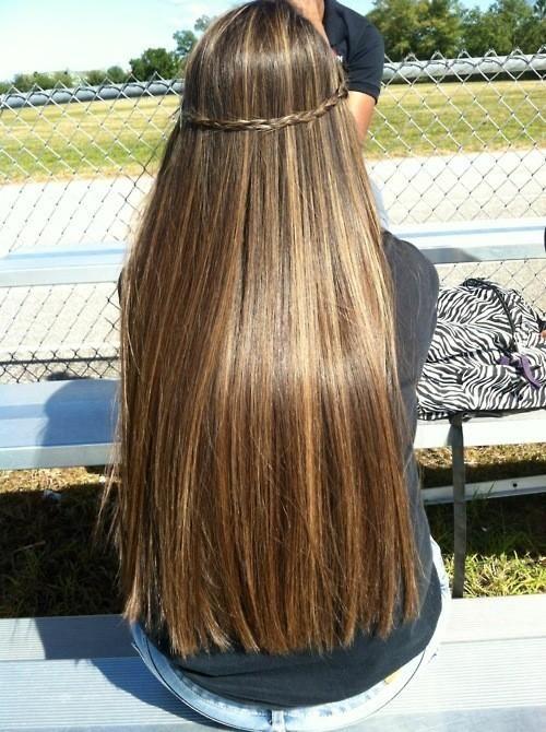 long shiny straight hair with halo braid