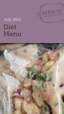 Diet July 2013 freezer menu with everything you need to stay on track. Cook meals for a month in one day. #oamc #freezermeal #weightwatcher