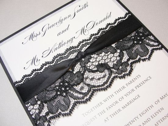 LAURA Black Lace Wedding Invitation by LavenderPaperie1