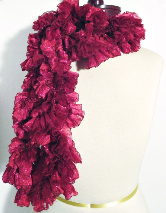 Candy Apple Crocheted Ruffled Ribbon Scarf Fall by OakliesFashions, $25.95