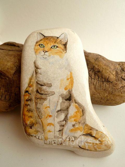 calico cat inspired stone by ArtRocks by Karen, via Flickr