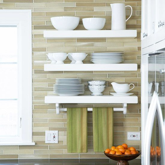 loving this modern brick pattern tile behind open shelves, so pretty!