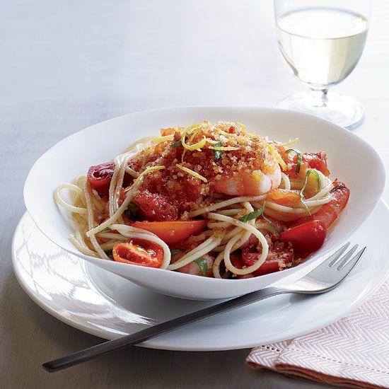 Spaghettini with Shrimp, Tomatoes and Chile Crumbs // More Tasty Pasta: www.foodandwine.c... #foodandwine