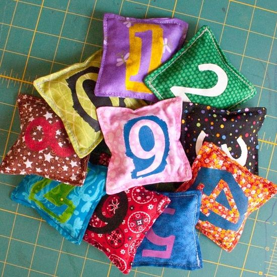 Numbered handmade beanbags
