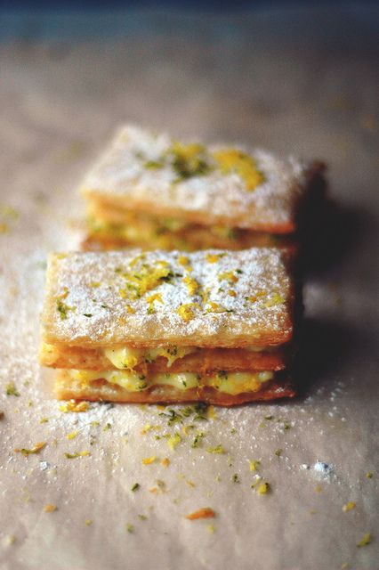 Lemon Mille-Feuille via Rachel Chew #lemon #recipe