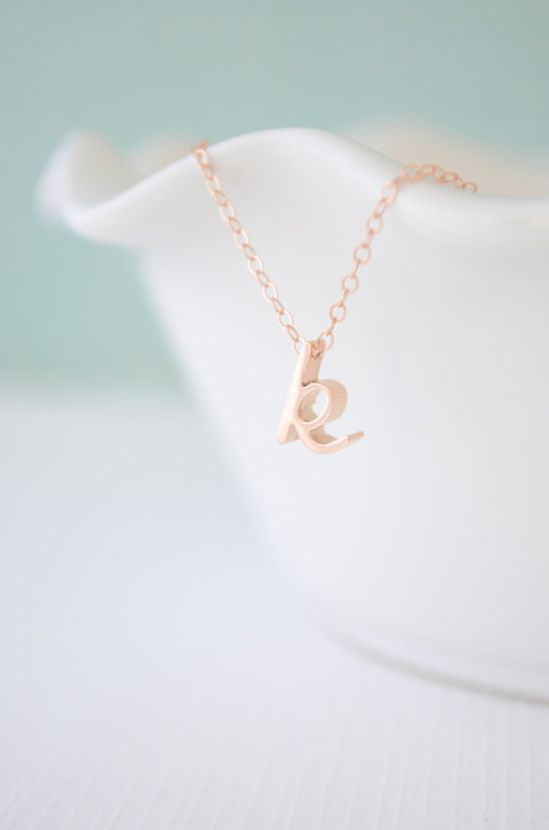 The classic initial pendant in cursive rose gold. Lovely.