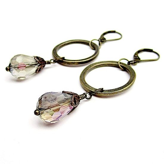 Smoky Crystal Earrings Brass Jewelry Fashion Jewellery by cdjali, $14.00