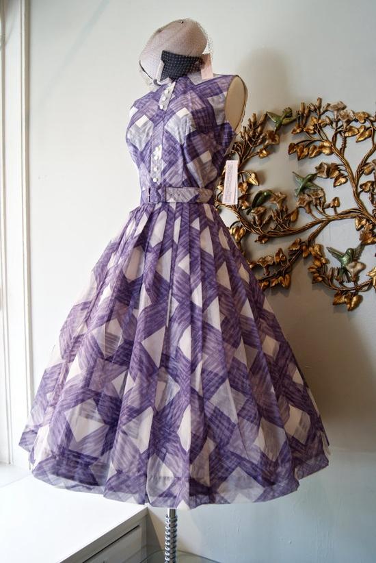50s Dress #summer #fashion #plaid #1950s #partydress #vintage #frock #retro #sundress #tartan #checkered #feminine