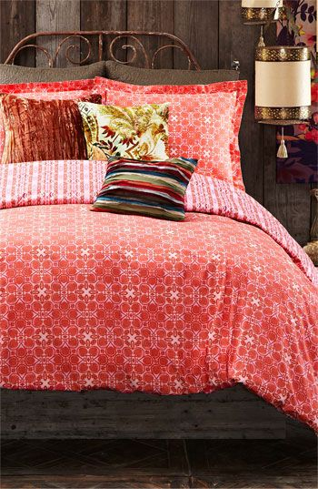 A room full of red. Great prints and colorful accents.