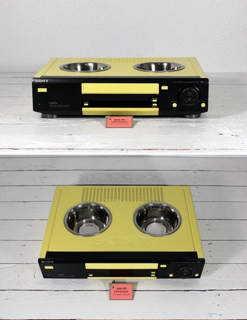 pet feeder upcycled from a VCR