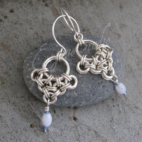 Sterling Chainmaille Earrings  Eleni by ErganeStudio on Etsy