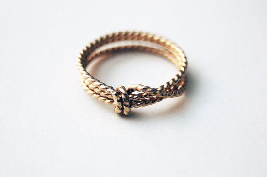 14k gold filled Lassoed Rope Love Ring. $90.00, via Etsy.