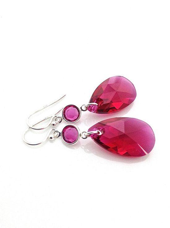 Fuchsia teardrop pendant earrings.  #fuchsia #teardrop #earrings by #UrbanClink, $35.00