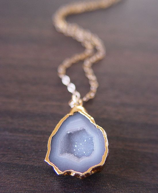 Vanilla-grey drusy and 14k gold necklace