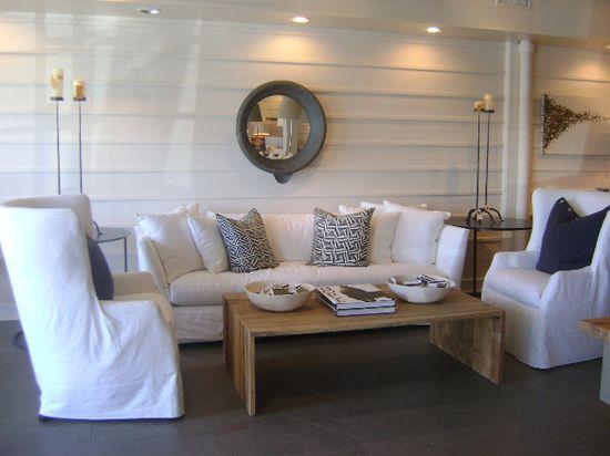 Slipcover furnishings, wainscot, mix of woods
