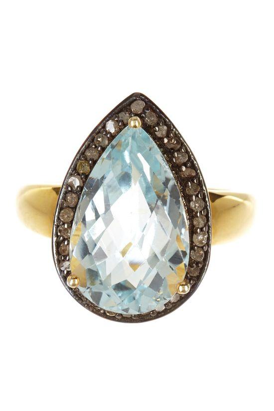 Blue Topaz & Champagne Diamond Teardrop Ring